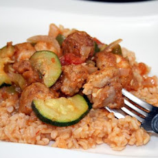 Mexican Zucchini and Chicken over Rice
