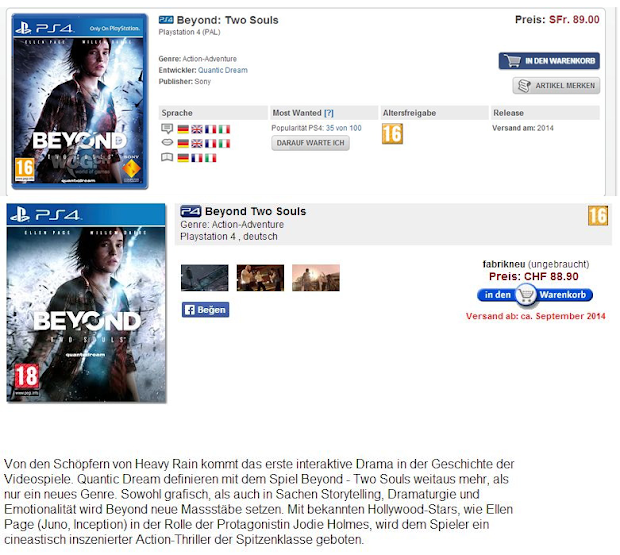 Beyond: Two Souls spotted on PS4 at online retailers