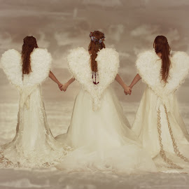 All Angel Together by Kelly Murdoch - People Group/Corporate ( uk, holding, white, feathers, ztam, angel, england, winter, hands, wings, wedding, dress, snow, angels, hair )
