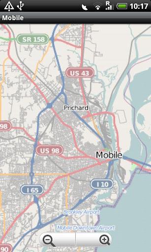 Mobile. Alabama Street Map