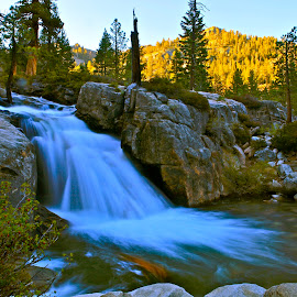 High Sierra Cascade by Geoff McGilvray - Nature Up Close Water ( water, stream, boulders, shirley canyon, waterfall, squaw valley, landscape, mountains, sierras, cascade, creek, nature up close, granite )