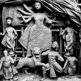DEVI DURGA by Saikat Sen - Artistic Objects Other Objects ( black and white, street, india, idol )