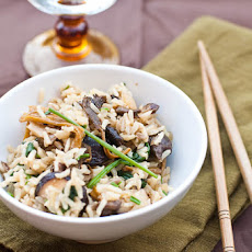 Mixed Mushrooms and Spinach in Brown Rice