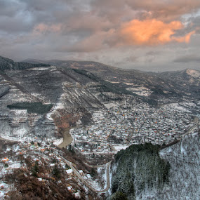 Over the Iskar  defile in winter ... by Стефан Стефанов - Landscapes Mountains & Hills ( hills, mountains, winter, sunset, snow, villages, landscape, winter day, panorama, panoramic, pass )
