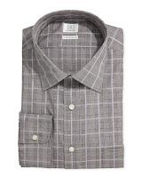 Ike Behar Regular Finish Glen Plaid Dress Shirt, Taffy - (17X36)