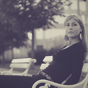 not wasting time by Gregor Znidarsic - People Portraits of Women ( blonde, fashion, girl, bench, black & white )