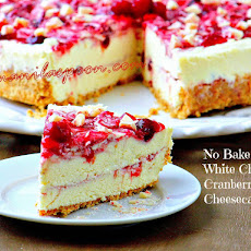 No Bake White Chocolate Cranberry Cheesecake
