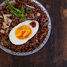 Red Rice Salad with Boiled Eggs and Macadamias
