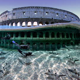 Underwater world by Aurora Boreale - Digital Art Places ( colosseum, divers, underwater, sharks )