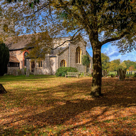 Autumn and church by Aleksey Maksimov - Buildings & Architecture Places of Worship ( uk, england, church, autumn, leaves )