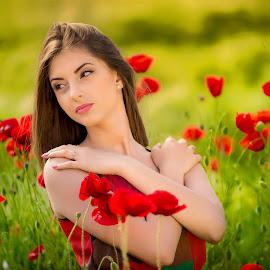 girl 3 by Hermeneanu Valter - People Portraits of Women ( enthusiasm, red flower, moods, passionate, improving mood, wheat field, love, girl, red, sunset, the mood factory, passion, field of poppies, inspirational )