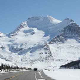 Columbia Icefields Parkway by Lena Arkell - Landscapes Mountains & Hills ( mountains, winter, alberta, highway, snow,  )