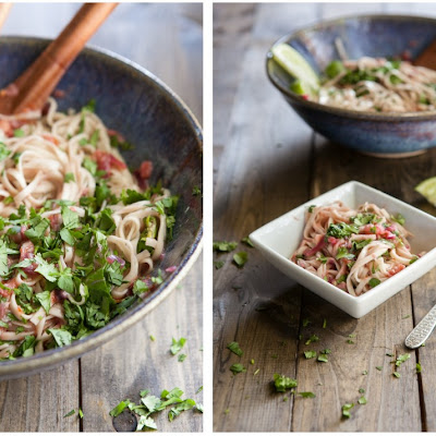 Noodles with Kale and Spicy Rhubarb Sauce