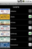 Screenshot of License Plate Game Lite