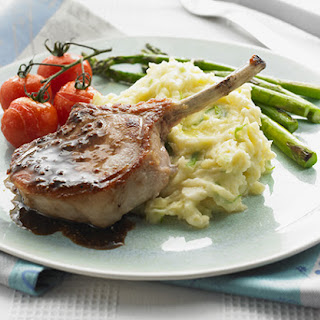 Pork Cutlets in Balsamic Mustard with Creamy Colcannon