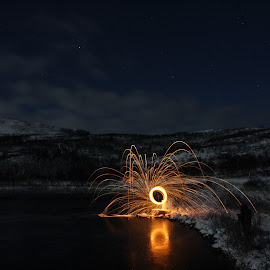 Steelwool spinning 4/11 by Edvard  Nielsen - Abstract Light Painting ( reflection, spinning, snow, steelwool, nightphotography, moonlight, steelwoolspinning )