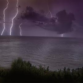 Storm by Ivan Bertusi - Landscapes Weather ( lightning, sea, night, storm, light )