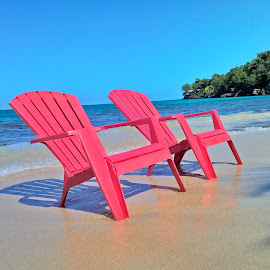 Meet me here by Ryan Rea - Artistic Objects Furniture ( jamaica, chairs, getaway, relax, ocean, beach, sun, caribbean, escape, beaches, sky, tree, shadow, water, sand, hdr, waves, sea, vacations, chair, vacation, red, wave, hot, trees )