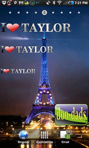 I Love Taylor doo-dad