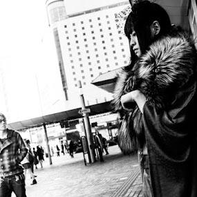 Kimono Girl by Kurt K Gledhill - People Street & Candids ( okayama, monochrome, japan, street, white, candid, portrait, black )