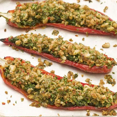 Baked stuffed Romano peppers