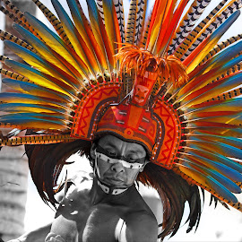 Cozumel Dancer by Marthinus Strydom - People Street & Candids ( carribean, colorful, headdress, mexico, mexican, cozumel, facepaint, indigenous, feathers, man, dancer, emotion )