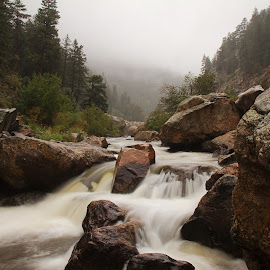 BIg Thompson Colorado by Johnny Gomez - Landscapes Mountains & Hills ( mountains, rainy, waterfall, colorado, misty, river )