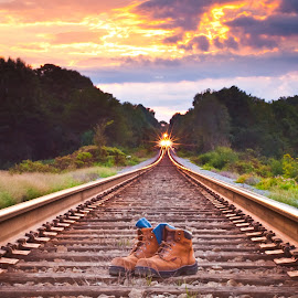 A Mile in His Boots by Scott Cureton - Transportation Railway Tracks ( csx, railroad, red wing boots, sunrise, tracks, true friend )