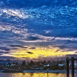 Sunrise over Edmonds by Wesley Weaver - Landscapes Sunsets & Sunrises ( washington, waterscape, edmonds, sunrise, dock )