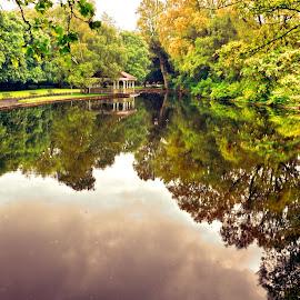 Reflections of St. Stephens Green by Jennifer Wheatley-Wolf - City,  Street & Park  City Parks ( jennifer wheatley-wolf, park, st. stephens green, dublin, reflections, gazebo, pond )