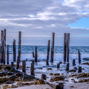 Old and Blue by Diane Flynn - Landscapes Waterscapes ( broken, water, australia, sea, pier, adelaide, jetty, rocks, star of greece )