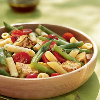 Penne, Crispy Tofu, and Green Bean Salad