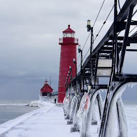 Light House  by Dale Pausinga - City,  Street & Park  Historic Districts ( park, ice, snow, lighthouse, pier )
