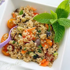 Quinoa Salad Recipe with Yellow Grape Tomatoes, Kalamata Olives, Basil and Mint