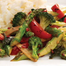 Asparagus, Broccoli, Ginger, and Mint Stir-fry