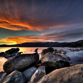 Lake Tahoe Sunset by Greg Douglas - Landscapes Sunsets & Sunrises ( waterscape, sunset, lake sunset, tahoe, lake tahoe )