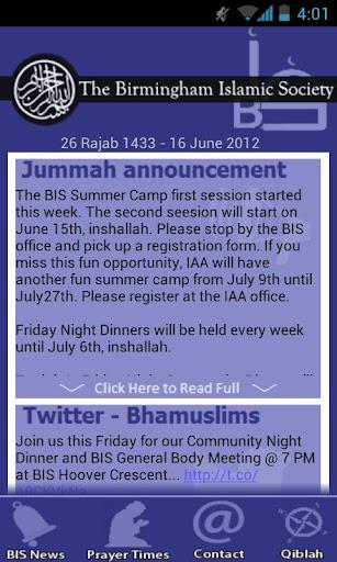 Birmingham Islamic Society App