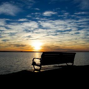 Lone bench  by Stephanie Hampton - Landscapes Sunsets & Sunrises ( okc, oklahoma, lakehefner, lake )