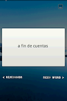 Screenshot of Flash Card Widget Idioms ES-EN