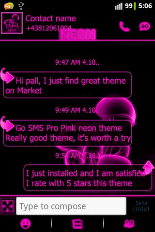 Pink neon theme GO SMS Pro