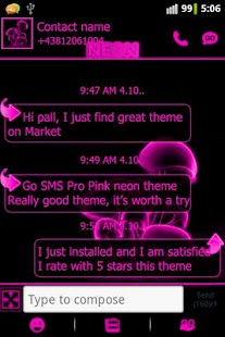 Pink neon theme GO SMS Pro - screenshot