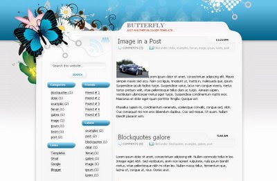 Butterfly blogger xml template - шаблон для blogspot