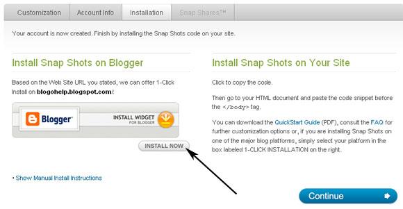 Установка сервиса snapshots