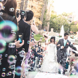 Don't marry the person you think you can live with; marry only the individual you think you can't live without. by Yansen Setiawan - Wedding Ceremony ( it's a wrap, weddings, wedding day, wedding, bubbles, happy marriage, marriage, wedding ceremony )