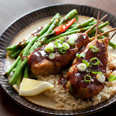 Chicken Yakitori with Long Beans & Brown Rice