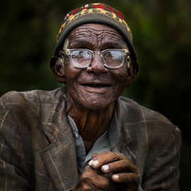 Happiness by Dinesh Verma - People Portraits of Men ( laughing, old man, people, portrait, man )