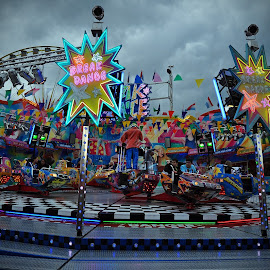 Let's Dance by Marco Bertamé - City,  Street & Park  Amusement Parks ( funfair, lights, break dance, action, cloudy, luxembourg )