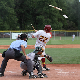 Which went farther -- ball or bat? by Paul Dineen - Sports & Fitness Baseball ( broken, baseball, sports, college, bat,  )