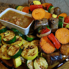 Brat Kabobs with Bacon Onion Dipping Sauce