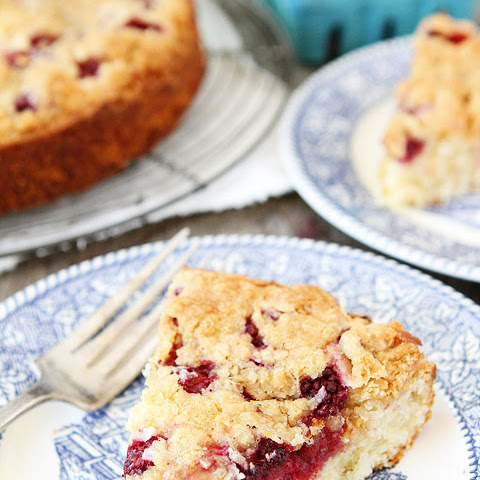 Raspberry Coconut Cake with Coconut Streusel